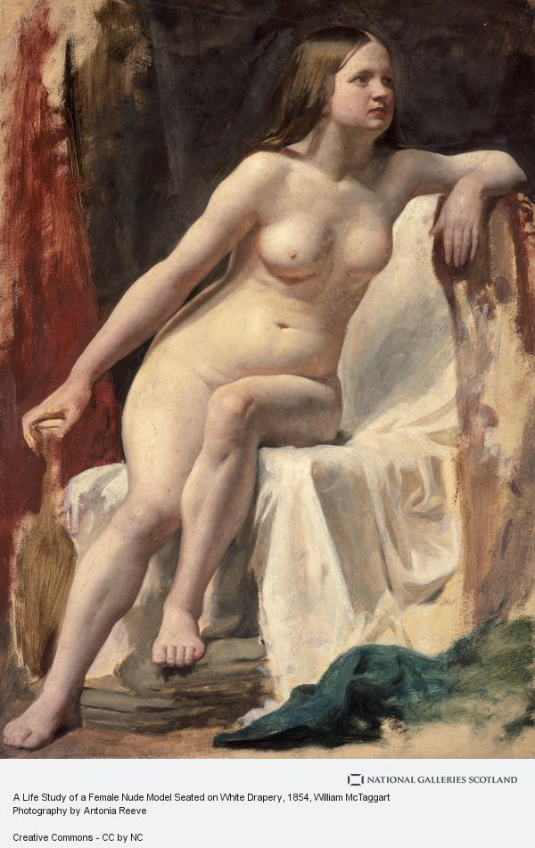 William McTaggart, A Life Study of a Female Nude Model Seated on White Drapery (About 1854)