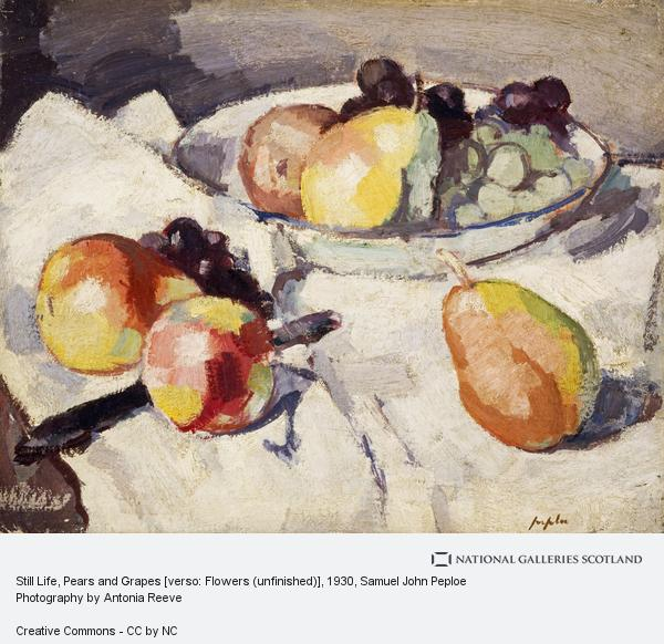 Samuel John Peploe, Still Life, Pears and Grapes [verso: Flowers (unfinished)]