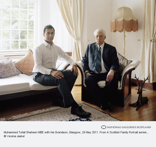 Verena Jaekel, Muhammed Tufail Shaheen MBE with his Grandson, Glasgow, 29 May 2011. From A Scottish Family Portrait series (2011)