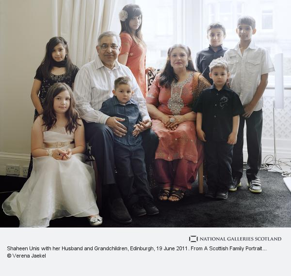 Verena Jaekel, Shaheen Unis with her Husband and Grandchildren, Edinburgh, 19 June 2011. From A Scottish Family Portrait series