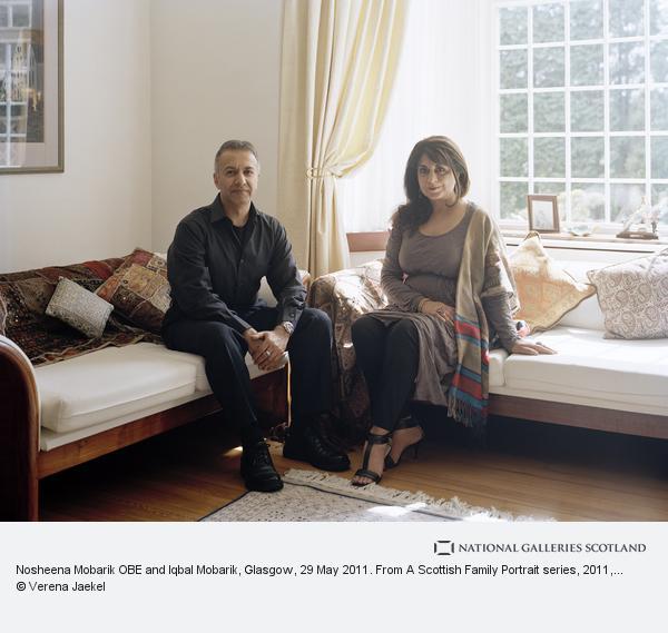 Verena Jaekel, Nosheena Mobarik OBE and Iqbal Mobarik, Glasgow, 29 May 2011. From A Scottish Family Portrait series (2011)