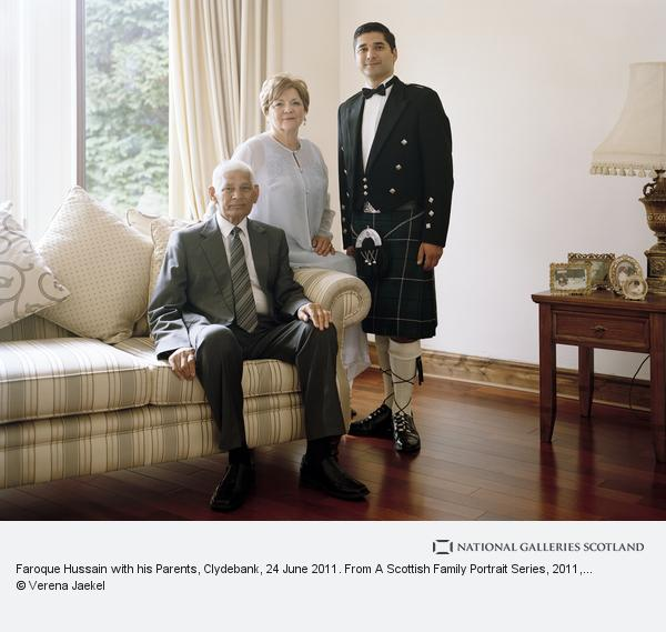 Verena Jaekel, Faroque Hussain with his Parents, Clydebank, 24 June 2011. From a Scottish Family Portrait series (2011)