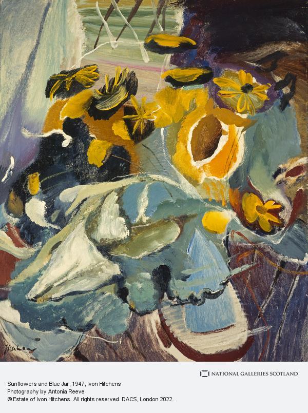 Ivon Hitchens, Sunflowers and Blue Jar