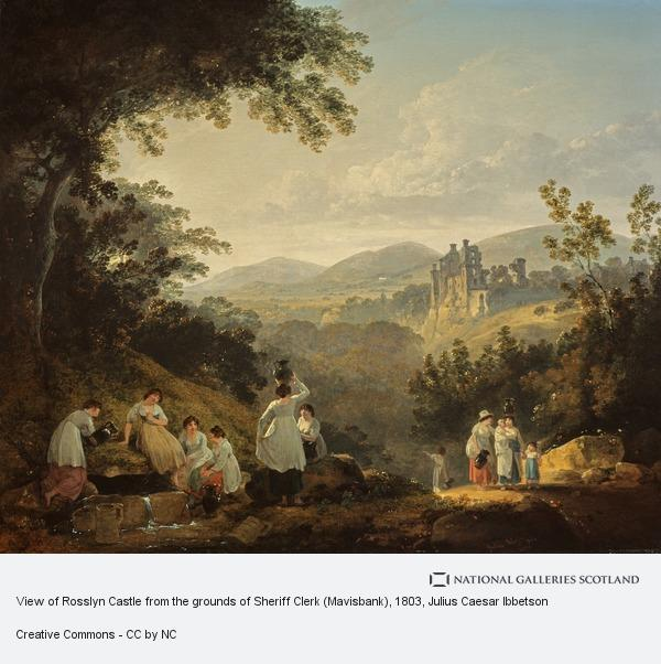Julius Caesar Ibbetson, View of Rosslyn Castle from the grounds of Sheriff Clerk (Mavisbank)