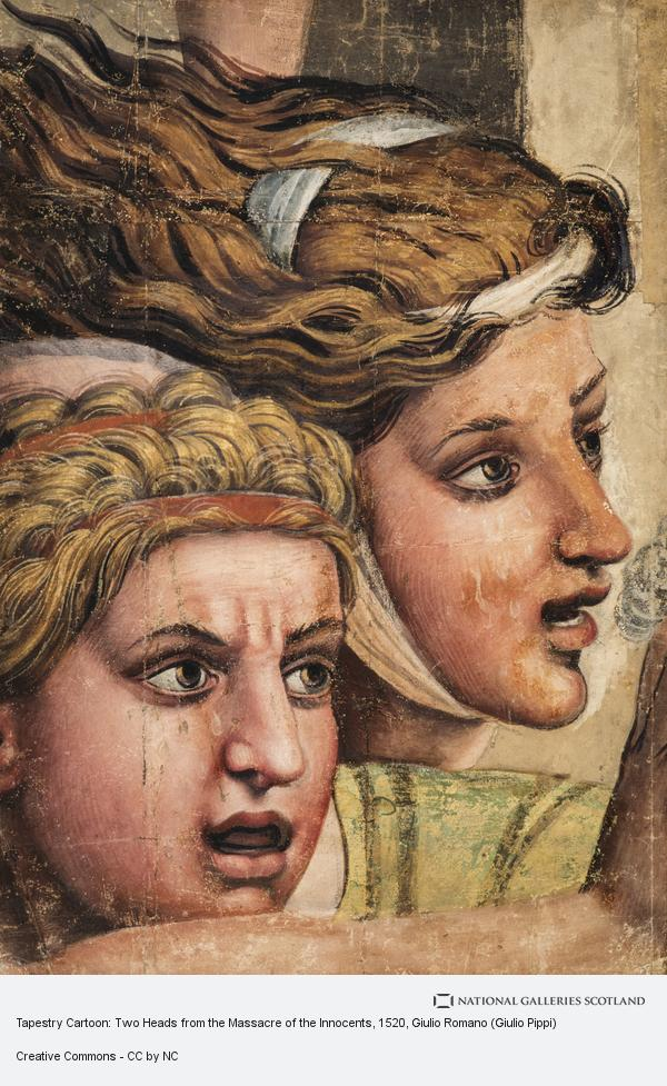 Giulio Romano (Giulio Pippi), Tapestry Cartoon: Two Heads from the Massacre of the Innocents (About 1520 - 1524)