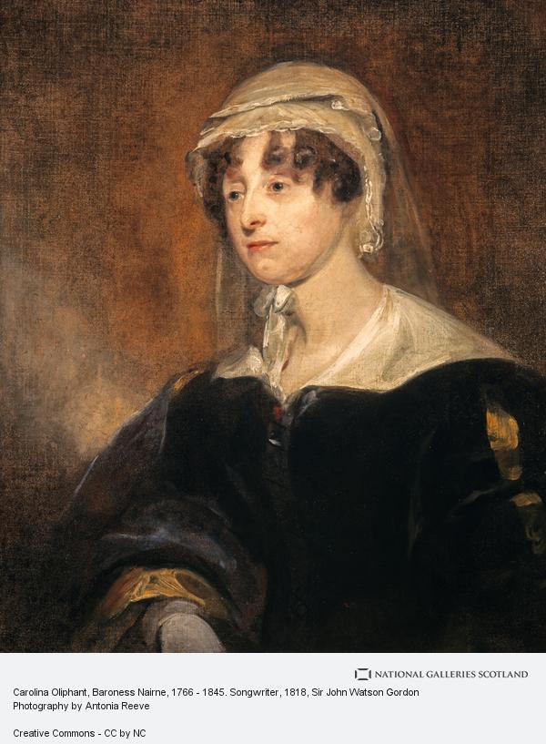 Sir John Watson Gordon, Carolina Oliphant, Baroness Nairne, 1766 - 1845. Songwriter