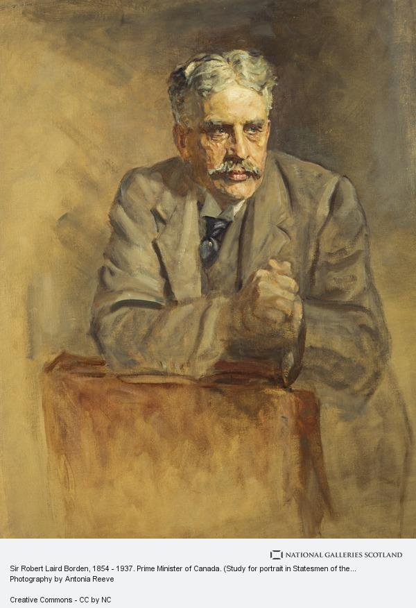 Sir James Guthrie, Sir Robert Laird Borden, 1854 - 1937. Prime Minister of Canada. (Study for portrait in Statesmen of the Great War, National Portrait Gallery,...
