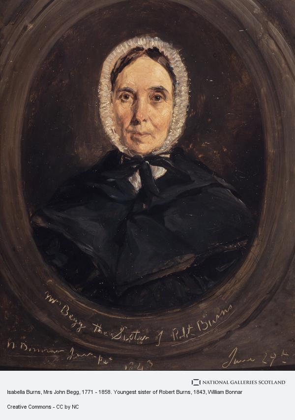 William Bonnar, Isabella Burns, Mrs John Begg, 1771 - 1858. Youngest sister of Robert Burns