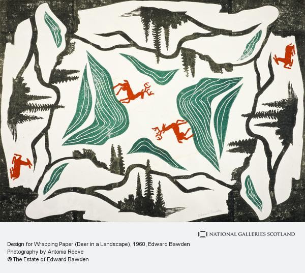 Edward Bawden, Design for Wrapping Paper (Deer in a Landscape)