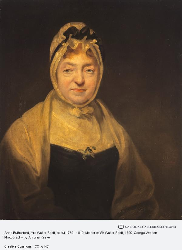 George Watson, Anne Rutherford, Mrs Walter Scott, about 1739 - 1819. Mother of Sir Walter Scott