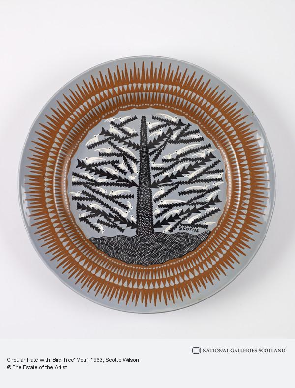 Scottie Wilson, Circular Plate with 'Bird Tree' Motif