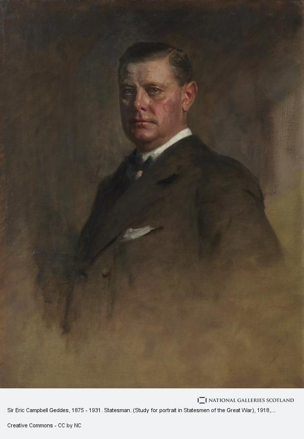 Sir James Guthrie, Sir Eric Campbell Geddes, 1875 - 1931. Statesman. (Study for portrait in Statesmen of the Great War)