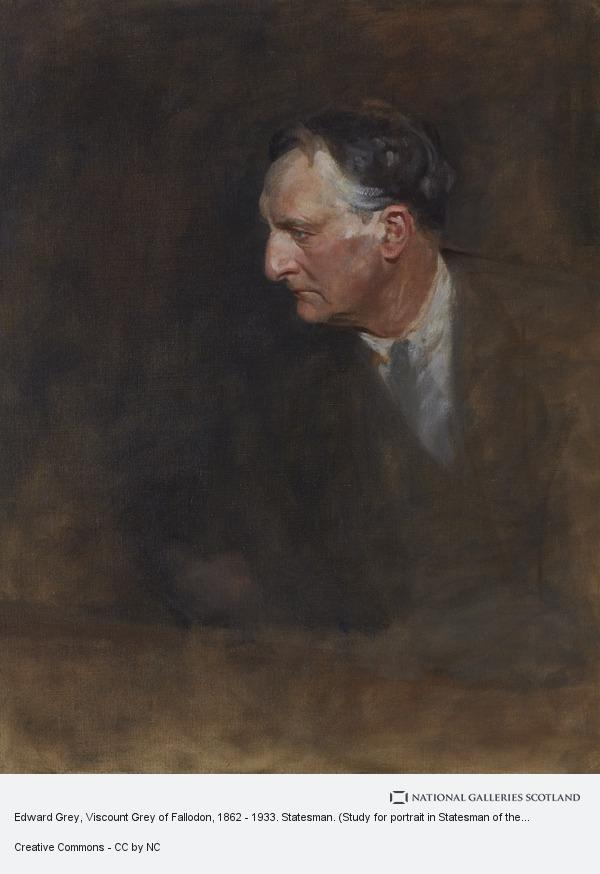 Sir James Guthrie, Edward Grey, Viscount Grey of Fallodon, 1862 - 1933. Statesman. (Study for portrait in Statesman of the Great War, National Portrait Gallery,...