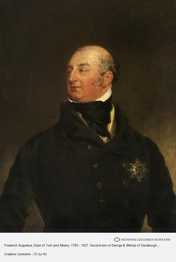 William Yellowlees, Frederick Augustus, Duke of York and Albany, 1763 - 1827. Second son of George III; Bishop of Osnaburgh