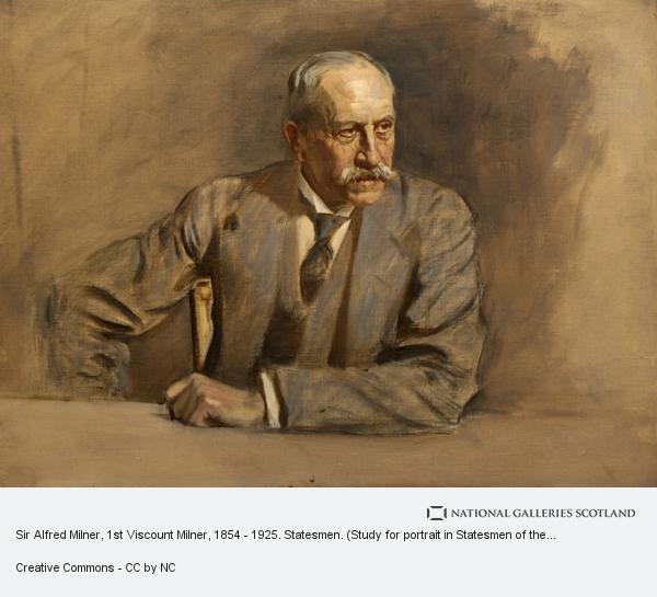 Sir James Guthrie, Sir Alfred Milner, 1st Viscount Milner, 1854 - 1925. Statesmen. (Study for portrait in Statesmen of the Great War)