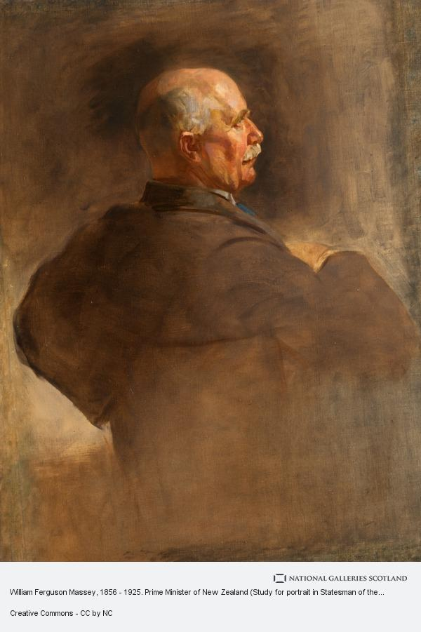 Sir James Guthrie, William Ferguson Massey, 1856 - 1925. Prime Minister of New Zealand (Study for portrait in Statesman of the Great War, National Portrait Gallery,...