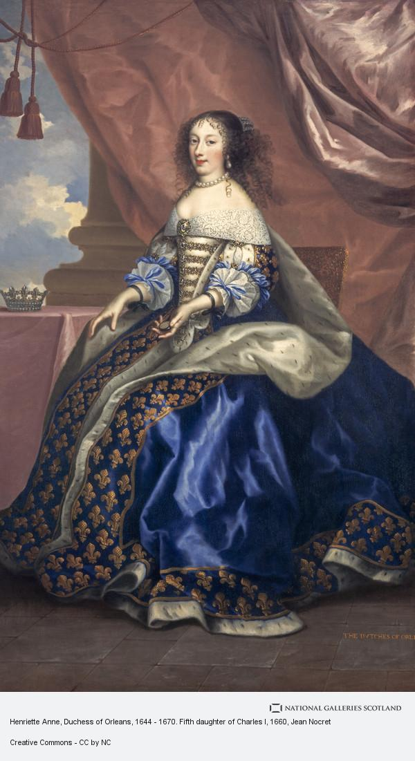 Jean Nocret, Henriette Anne, Duchess of Orleans, 1644 - 1670. Fifth daughter of Charles I