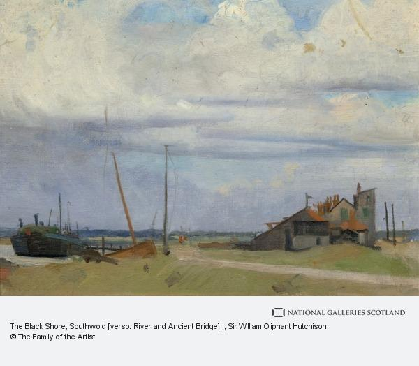 Sir William Oliphant Hutchison, The Black Shore, Southwold [verso: River and Ancient Bridge]