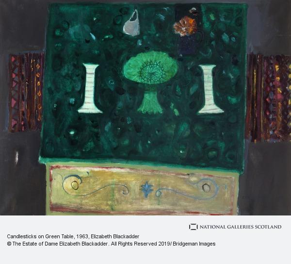 Elizabeth Blackadder, Candlesticks on Green Table