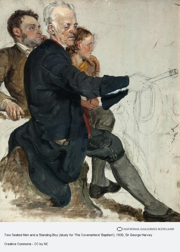 Sir George Harvey, Two Seated Men and a Standing Boy (study for 'The Covenanters' Baptism')