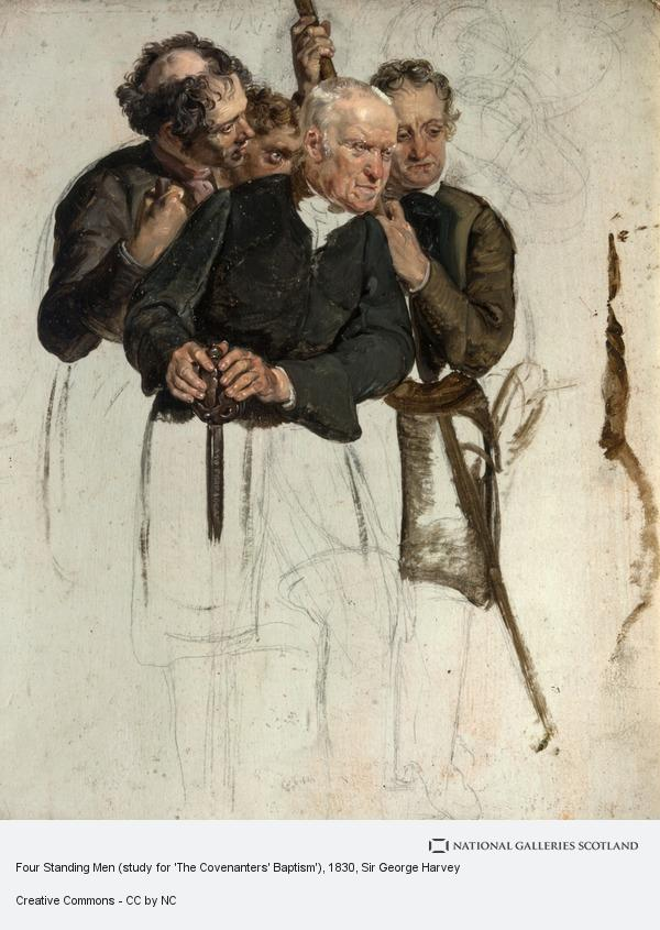 Sir George Harvey, Four Standing Men (study for 'The Covenanters' Baptism')