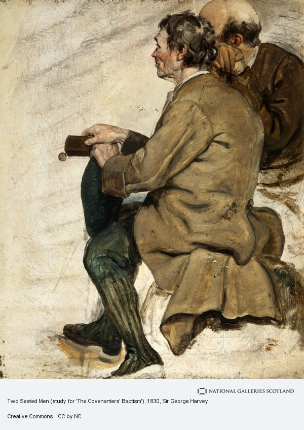 Sir George Harvey, Two Seated Men (study for 'The Covenanters' Baptism')