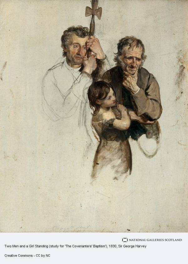 Sir George Harvey, Two Men and a Girl Standing (study for 'The Covenanters' Baptism')