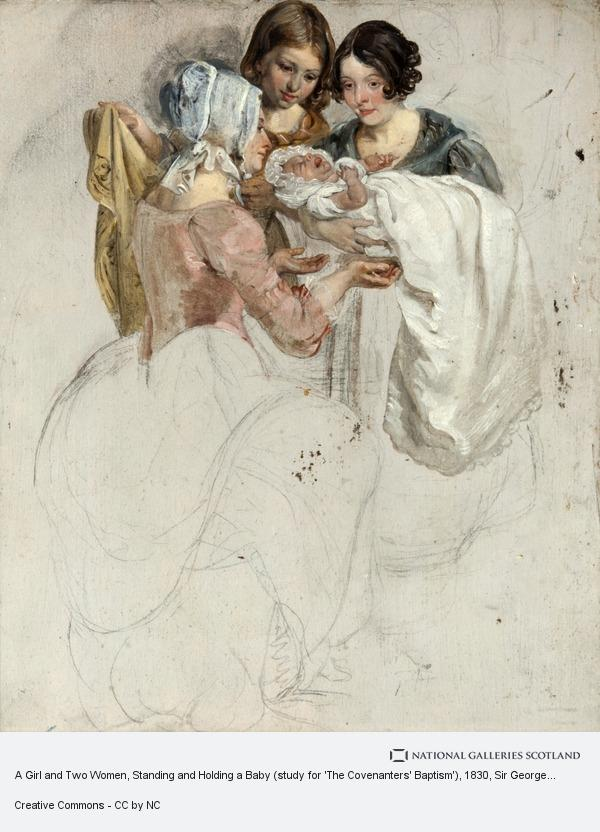 Sir George Harvey, A Girl and Two Women, Standing and Holding a Baby (study for 'The Covenanters' Baptism')
