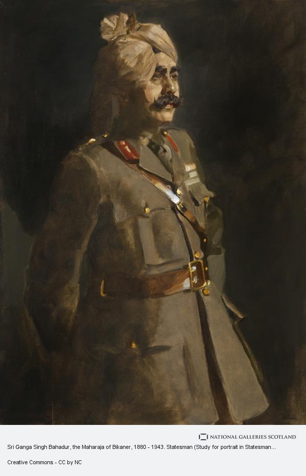 Sir James Guthrie, Sri Ganga Singh Bahadur, the Maharaja of Bikaner, 1880 - 1943. Statesman (Study for portrait in Statesman of the Great War, National Portrait...