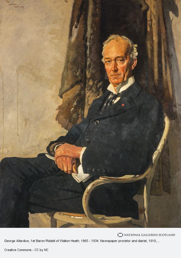 Sir William Orpen, George Allardice, 1st Baron Riddell of Walton Heath, 1865 - 1934. Newspaper prorietor and diarist