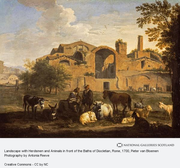 Pieter van Bloemen, Landscape with Herdsmen and Animals in front of the Baths of Diocletian, Rome