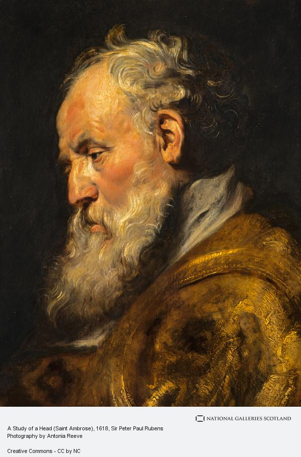 Sir Peter Paul Rubens, A Study of a Head (Saint Ambrose) (About 1618)