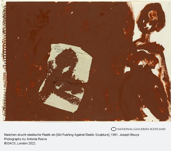Joseph Beuys, Madchen drucht elastische Plastik ein [Girl Pushing Against Elastic Sculpture] (1961)