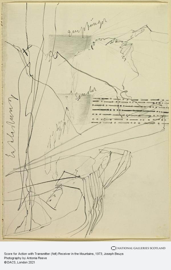 Joseph Beuys, Score for Action with Transmitter (felt) Receiver in the Mountains (1973)