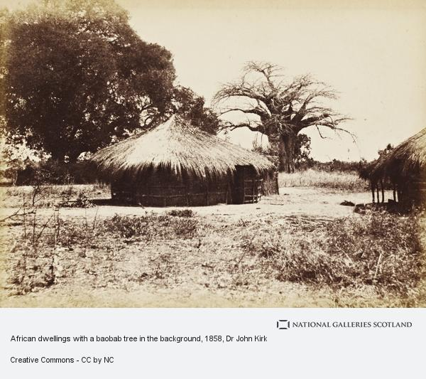 Dr John Kirk, African dwellings with a baobab tree in the background