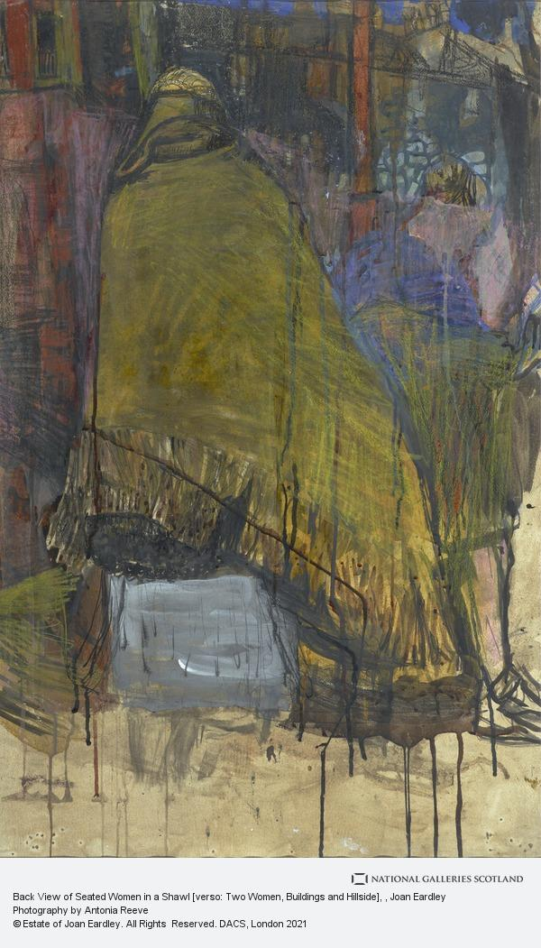 Joan Eardley, Back View of Seated Women in a Shawl [verso: Two Women, Buildings and Hillside]