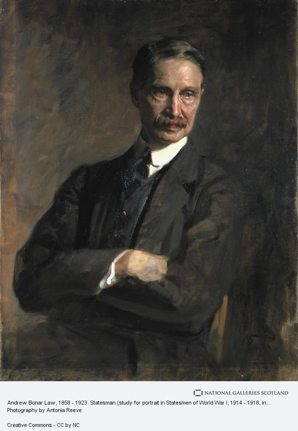 Sir James Guthrie, Andrew Bonar Law, 1858 - 1923. Statesman (study for portrait in Statesmen of World War I, 1914 - 1918, in the National Portrait Gallery, London)