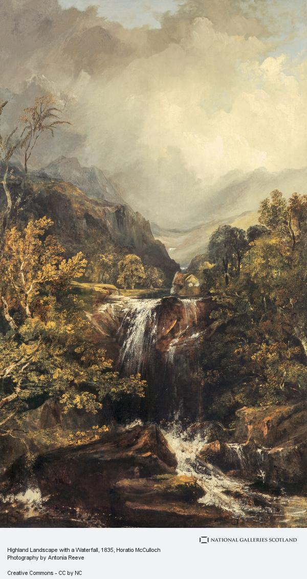 Horatio McCulloch, Highland Landscape with a Waterfall (About 1835)
