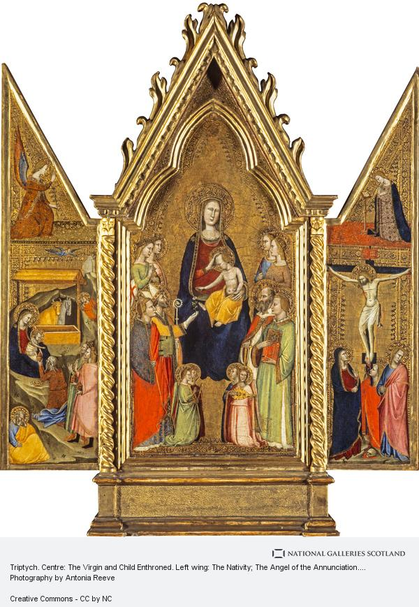 Tuscan School, Triptych. Centre: The Virgin and Child Enthroned. Left wing: The Nativity; The Angel of the Annunciation. Right wing: The Crucifixion; The Virgin... (14th century)