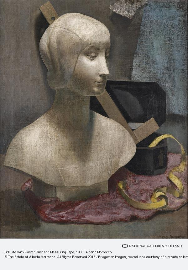 Alberto Morrocco, Still Life with Plaster Bust and Measuring Tape