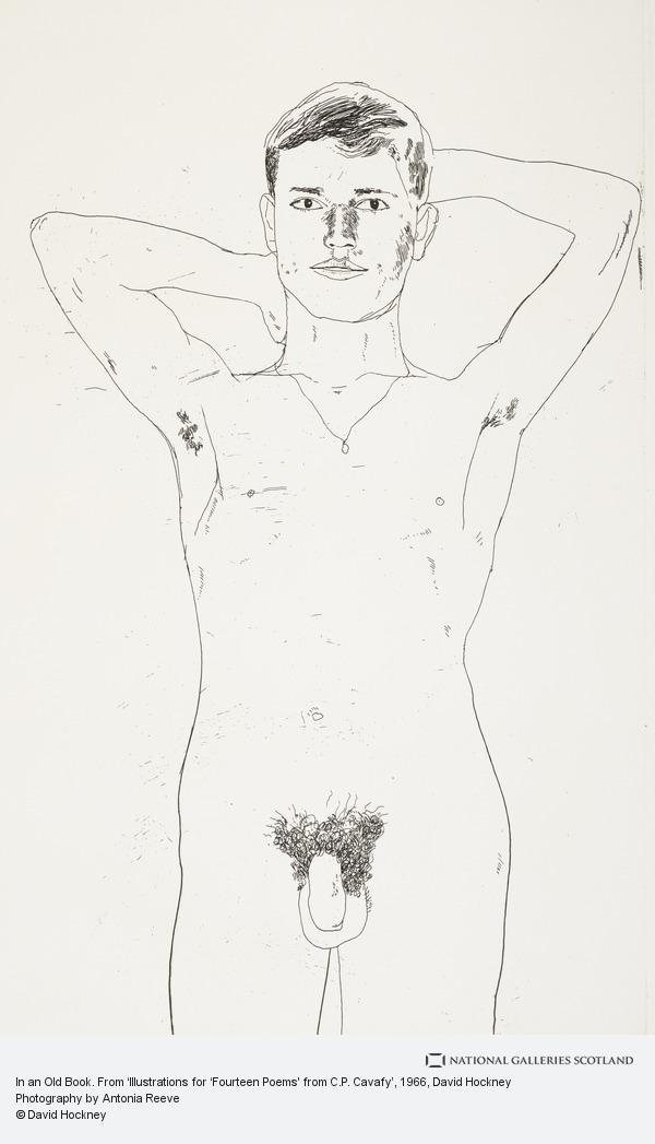 David Hockney, In an Old Book. From 'Illustrations for 'Fourteen Poems' from C.P. Cavafy'