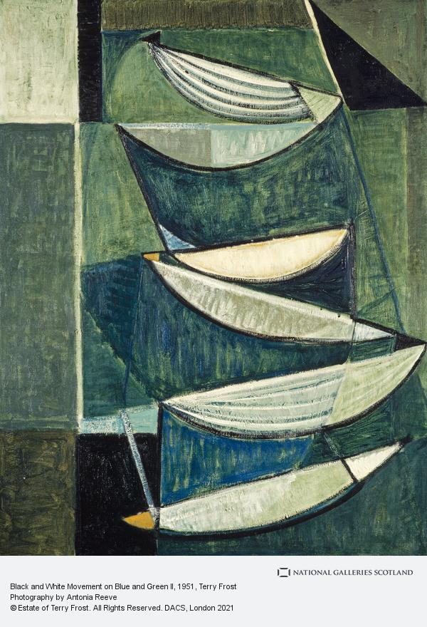 Terry Frost, Black and White Movement on Blue and Green II