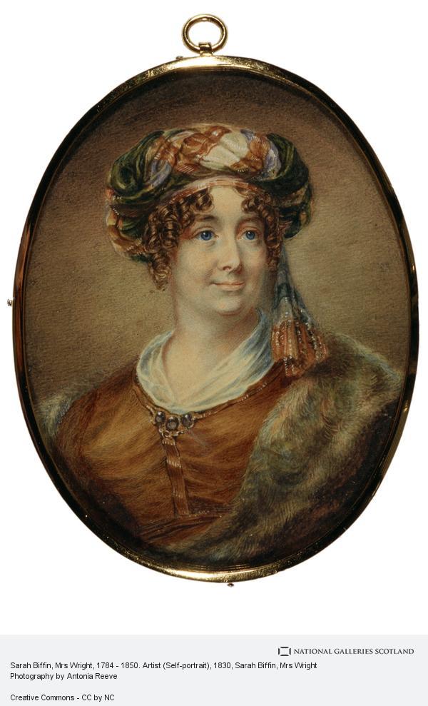Sarah Biffin, Sarah Biffin, Mrs E.M. Wright, 1784 - 1850. Artist (Self-portrait)