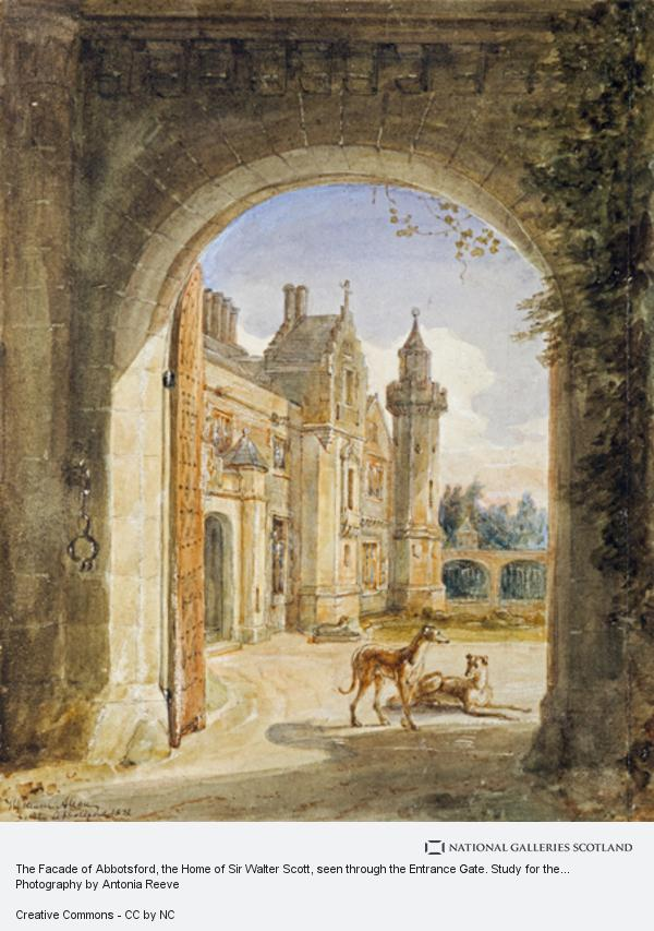 Sir William Allan, The Facade of Abbotsford, the Home of Sir Walter Scott, seen through the Entrance Gate. Study for the Engraving to Lockhart's 'Memoirs of the... (Dated 1832)