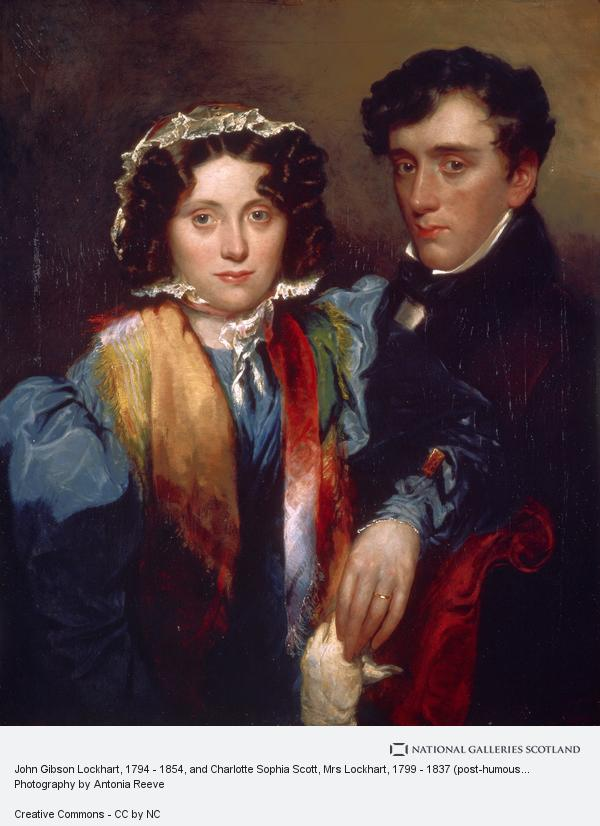 Robert Scott Lauder, John Gibson Lockhart, 1794 - 1854, and Charlotte Sophia Scott, Mrs Lockhart, 1799 - 1837 (post-humous likeness). Son-in-law and biographer of Scott (after 1838)