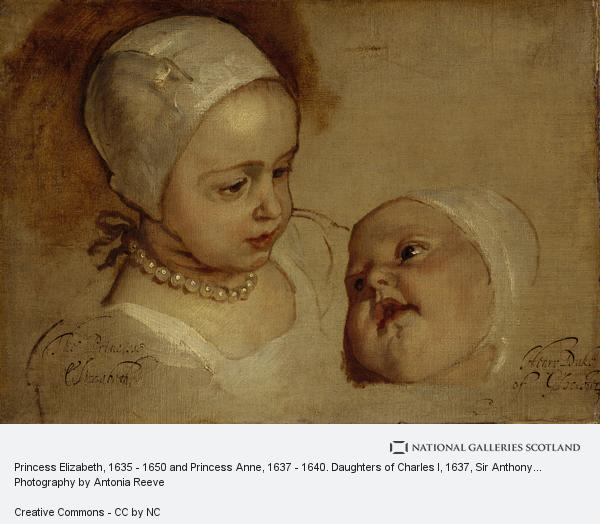 Sir Anthony van Dyck, Princess Elizabeth, 1635 - 1650 and Princess Anne, 1637 - 1640. Daughters of Charles I (1637)