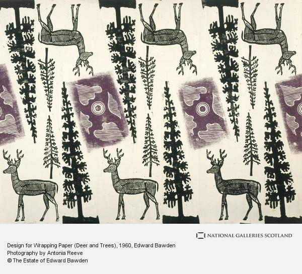 Edward Bawden, Design for Wrapping Paper (Deer and Trees)
