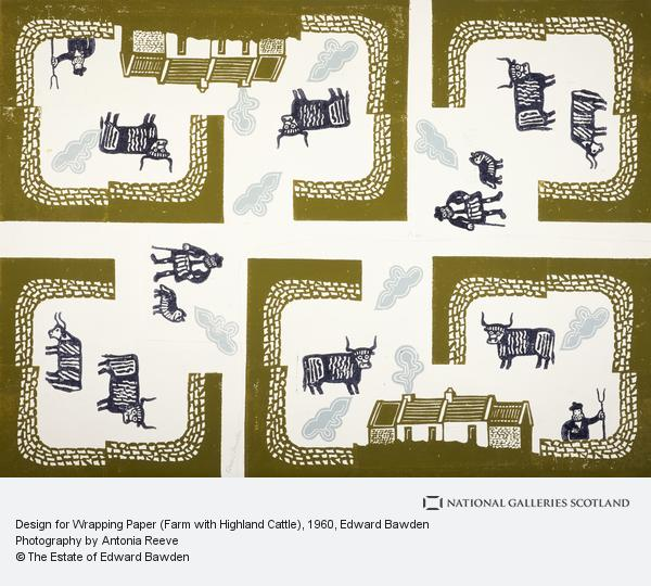 Edward Bawden, Design for Wrapping Paper (Farm with Highland Cattle)