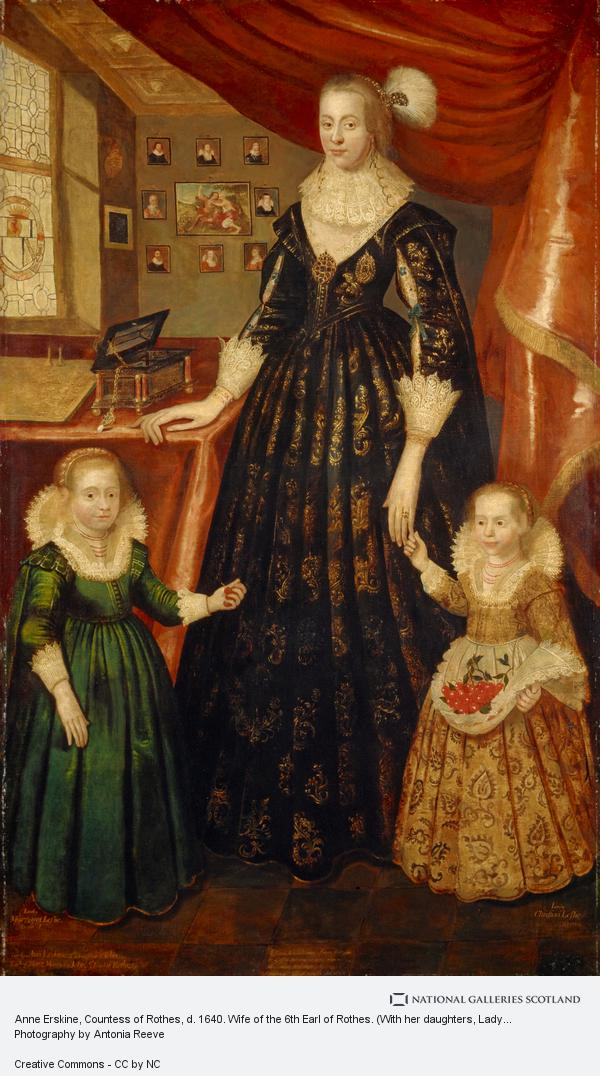 George Jamesone, Anne Erskine, Countess of Rothes, d. 1640. Wife of the 6th Earl of Rothes. (With her daughters, Lady Margaret Leslie, 1621 - 1688 and Lady Mary...