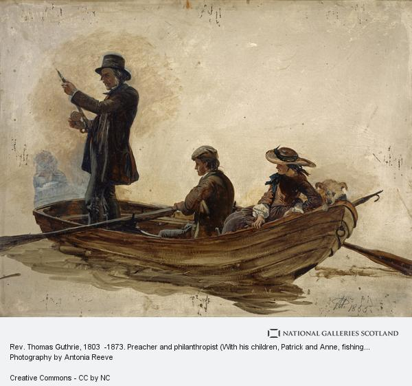 Sir George Harvey, Rev. Thomas Guthrie, 1803  -1873. Preacher and philanthropist (With his children, Patrick and Anne, fishing on Lochlee)